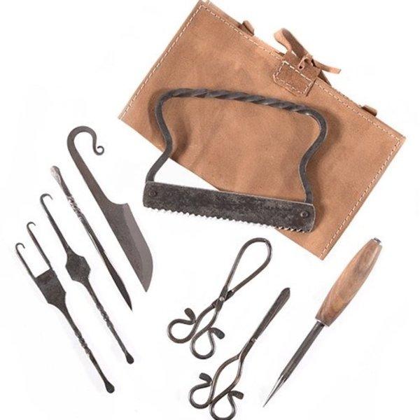 Surgery set, 8 pieces, with case
