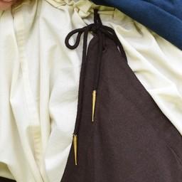 Średniowieczne szwy ze sznurowadłami, brązowe