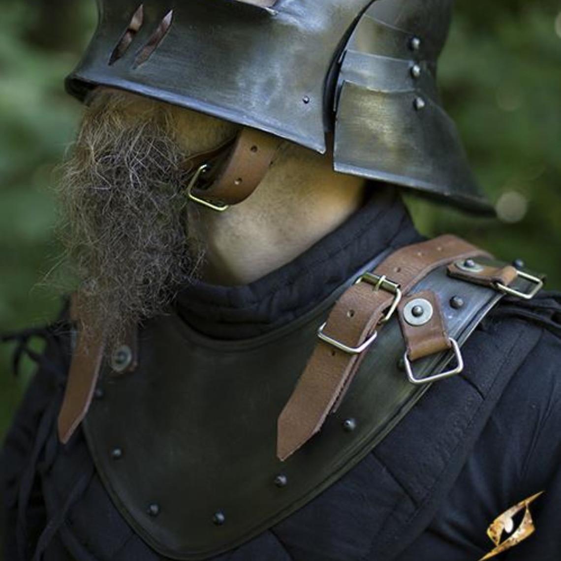 Epic Armoury Laatmiddeleeuwse gorget, gepatineerd