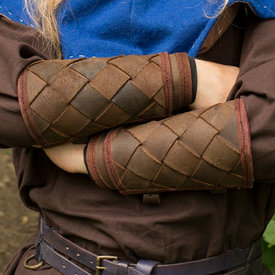 Epic Armoury Læder Viking armbeskyttere i plade, brun, par