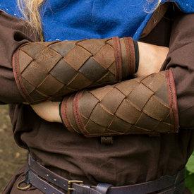 Epic Armoury Pelle bracciali vichinghe, marrone, coppia