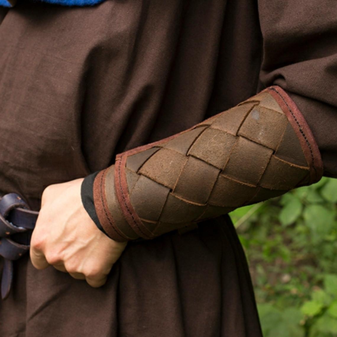 Epic Armoury Leren Viking onderarmbeschermers, bruin, paar