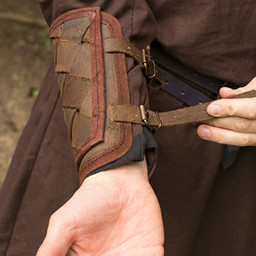 Läder Viking vambraces, brun, par