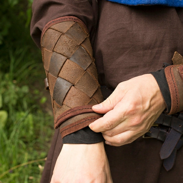 Epic Armoury Leather Viking vambraces, brown, pair