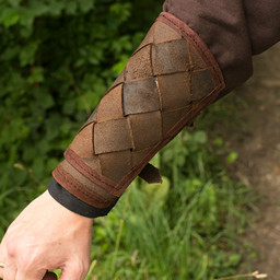 Brazales de cuero de Viking, marrón, par