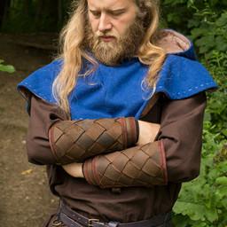 Leather Viking vambraces, brown, pair