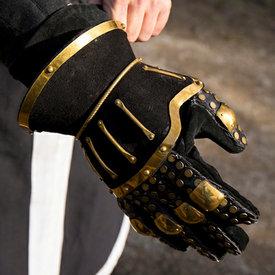 Epic Armoury Zandloperhandschoenen deluxe, zwart-goud