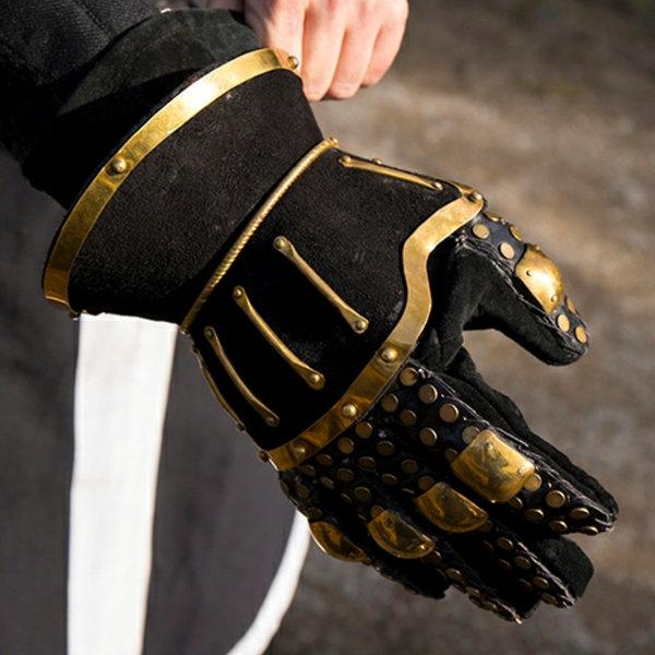 Epic Armoury Luksuriøse timeglas handsker, sort-guld
