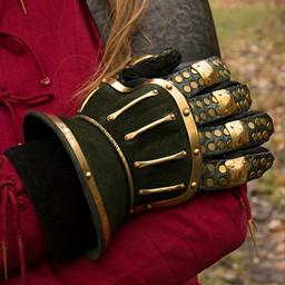 Luksusowe rękawice Klepsydra, zielono-złota
