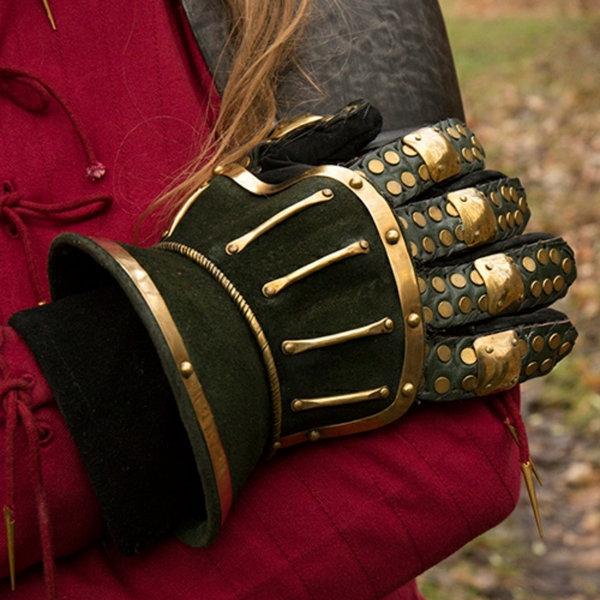 Epic Armoury Luxuriöse Sanduhr gauntlets, grün-gold