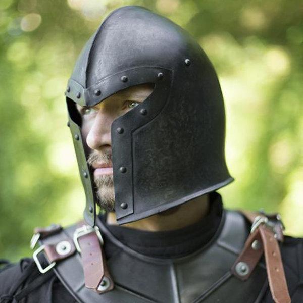 Epic Armoury 15de eeuwse barbute, gepatineerd