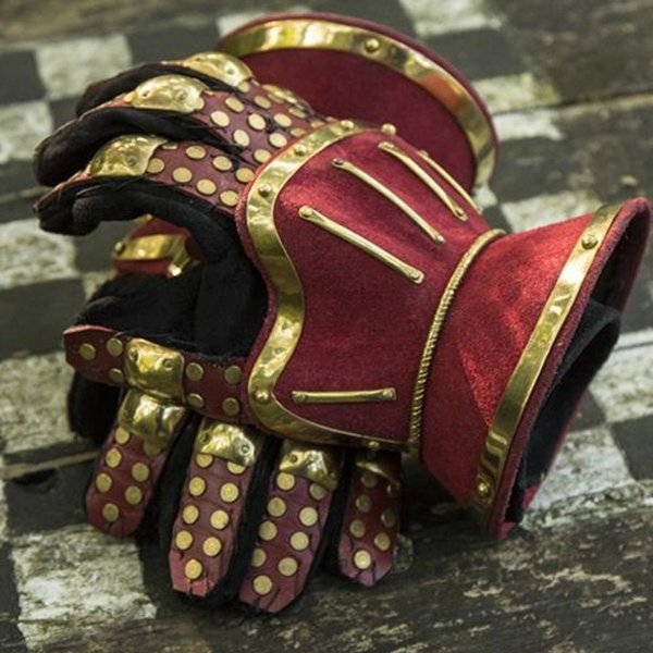 Epic Armoury Luxuriöse Sanduhr gauntlets, rot-gold