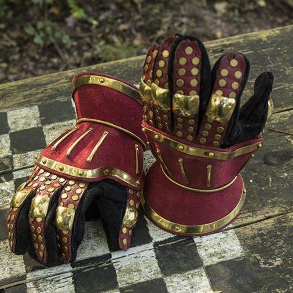 Epic Armoury Luksuriøse timeglas handsker, rød-guld