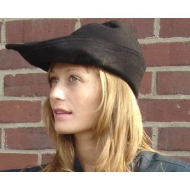 Robin hoed, leer, zwart