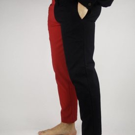 Late 14th century trousers Mi parti, black/red