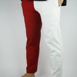 Pantaloni Mi parti, nero / rosso