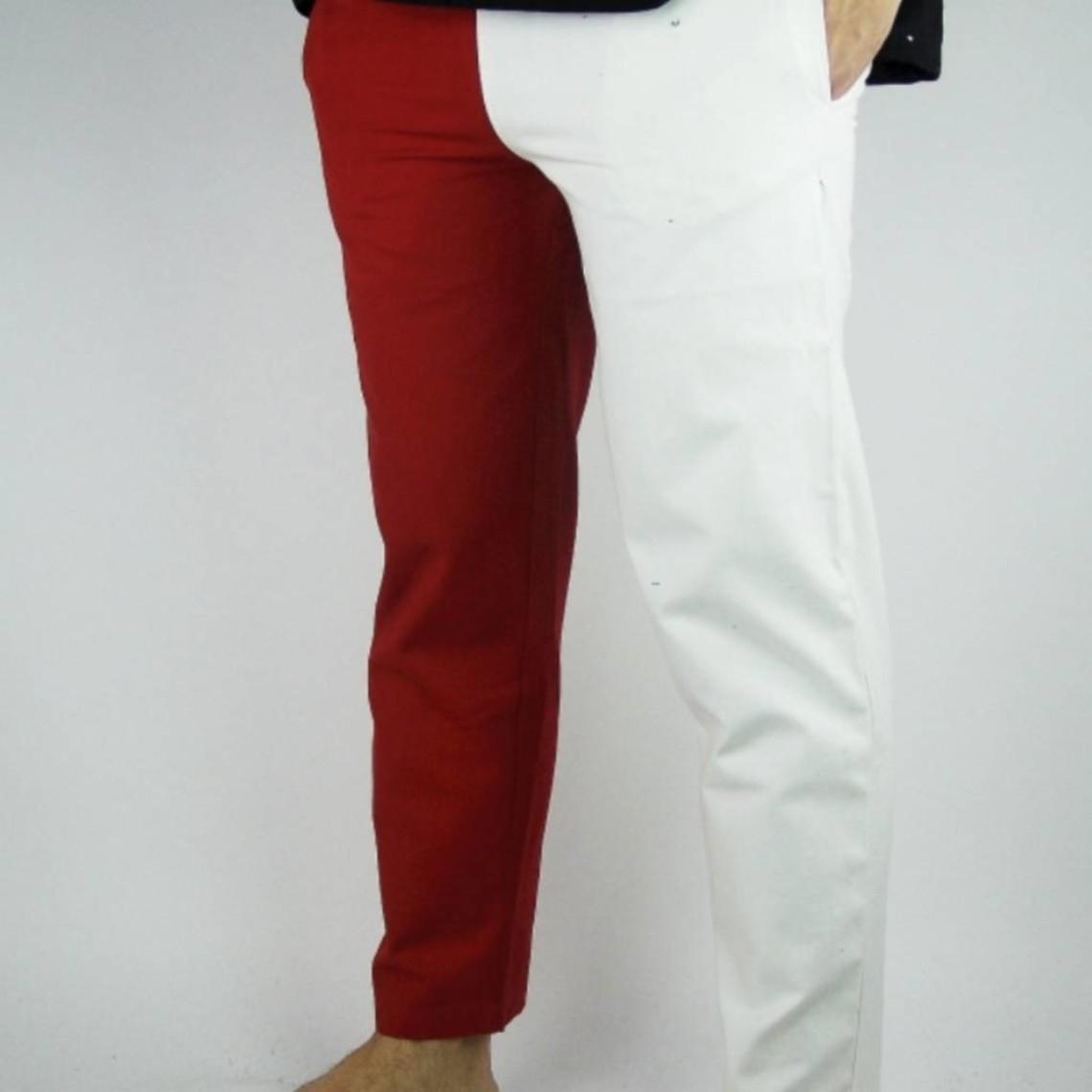 Leonardo Carbone Laat 14de eeuwse broek Mi parti, rood-wit