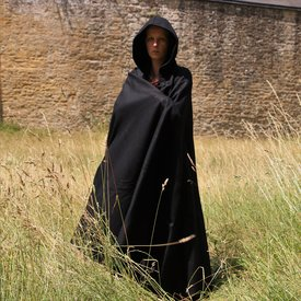 Medeltida kappa med huva, svart
