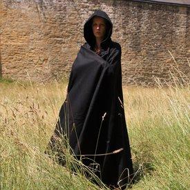 Mittelalterlicher Mantel mit Kapuze, schwarz