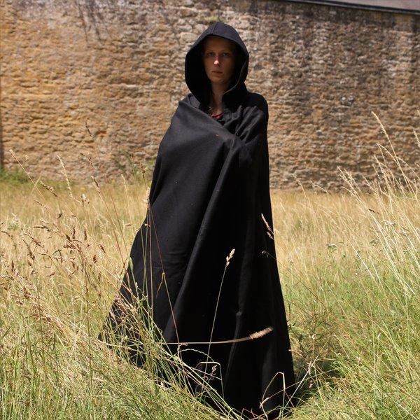 Leonardo Carbone Medieval kappe med hætte, sort