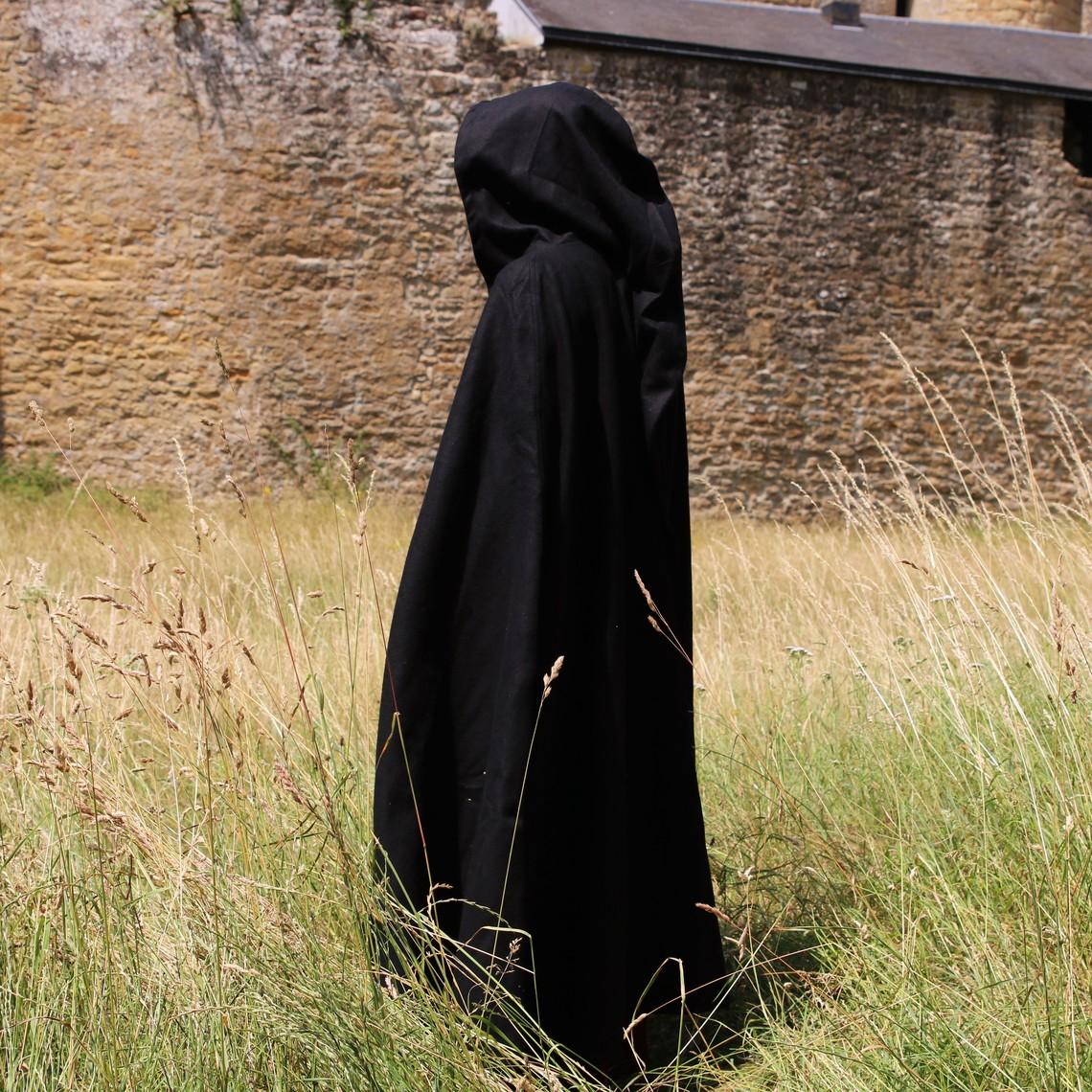Leonardo Carbone Cape médiévale à capuche, noire