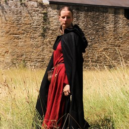 Medieval cloak with hood, black