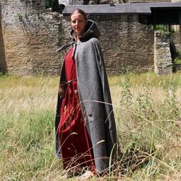 Mittelalterlicher Mantel mit Kapuze, grau