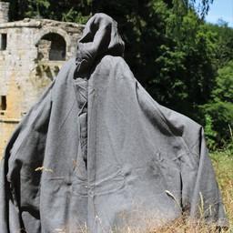 Capa medieval con capucha, gris.