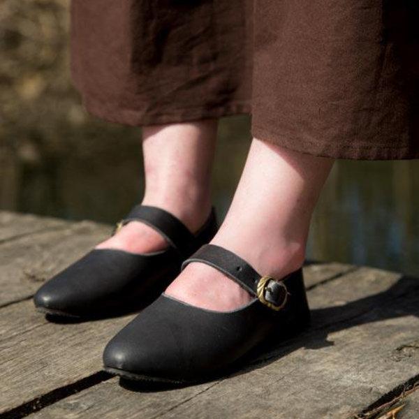 Epic Armoury Middeleeuwse damesschoenen Astrid, zwart