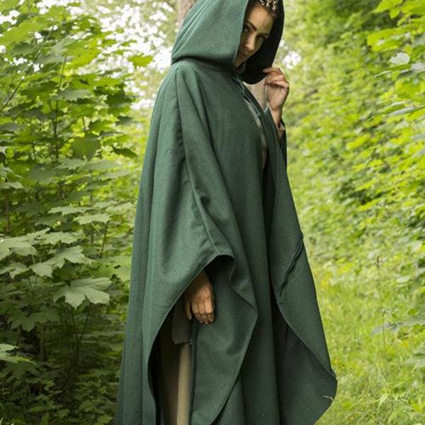 Epic Armoury Zielony płaszcz podróżny z wełny