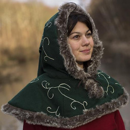 Fur hood Gisla, green