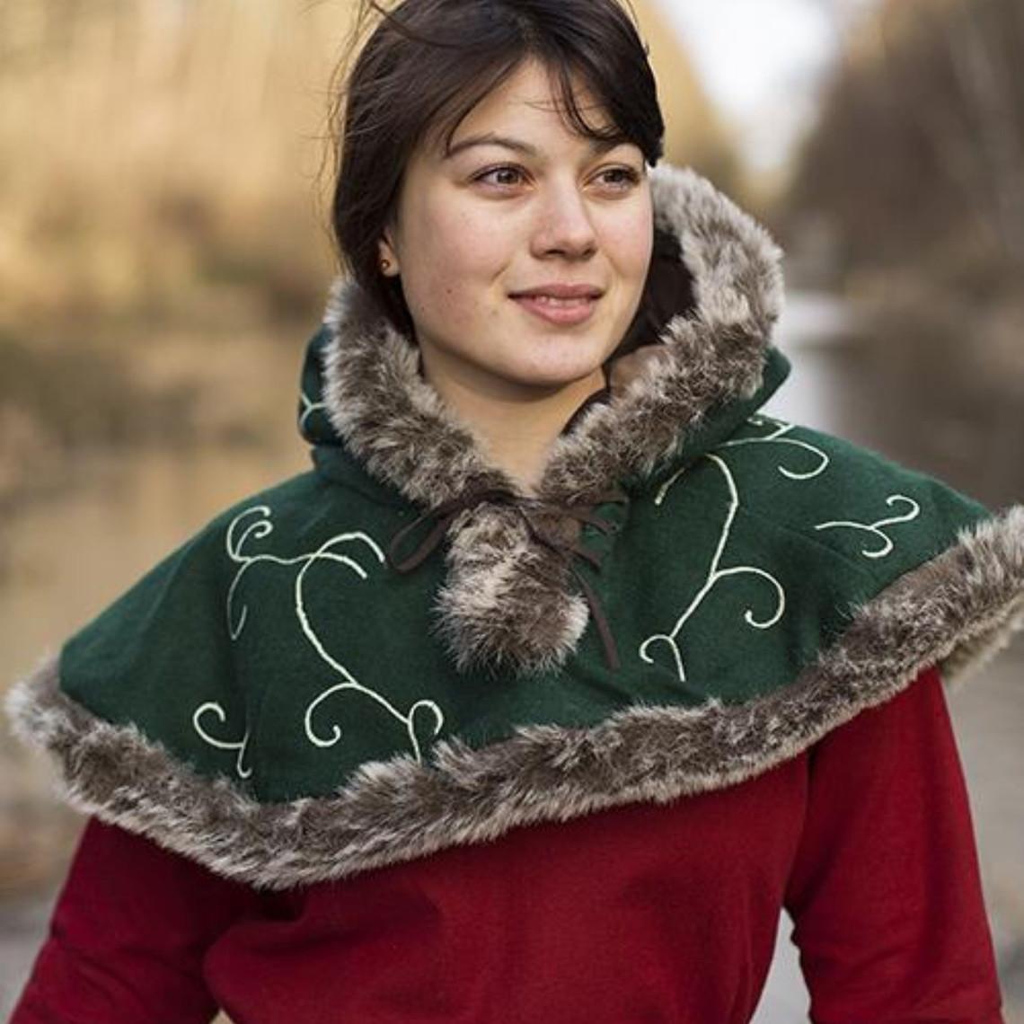 Epic Armoury Capucha de piel Gisla, verde
