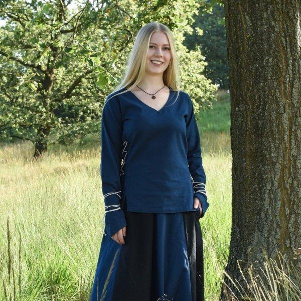 Blusa medieval de Aubrey, azul.