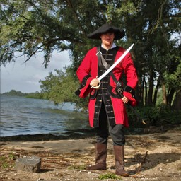Pirate coat velvet, red-black