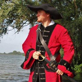 manteau de pirate velours, rouge-noir