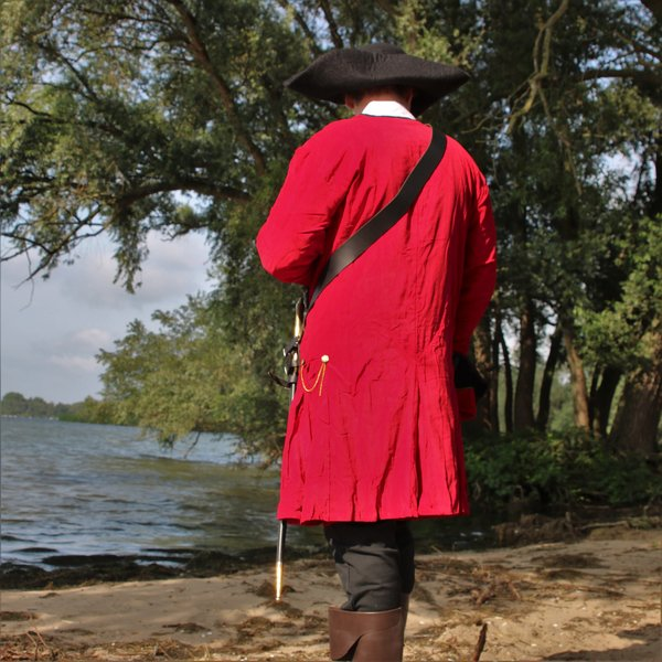 Manteau de pirate en velours, rouge-noir