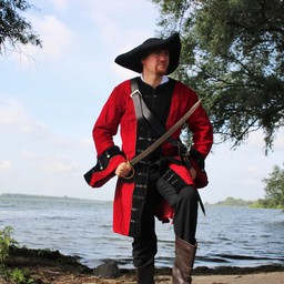 Abrigo pirata terciopelo, rojo-negro