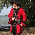 Leonardo Carbone Piratenjas fluweel, rood-zwart