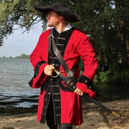 Piratpäls sammet, röd-svart