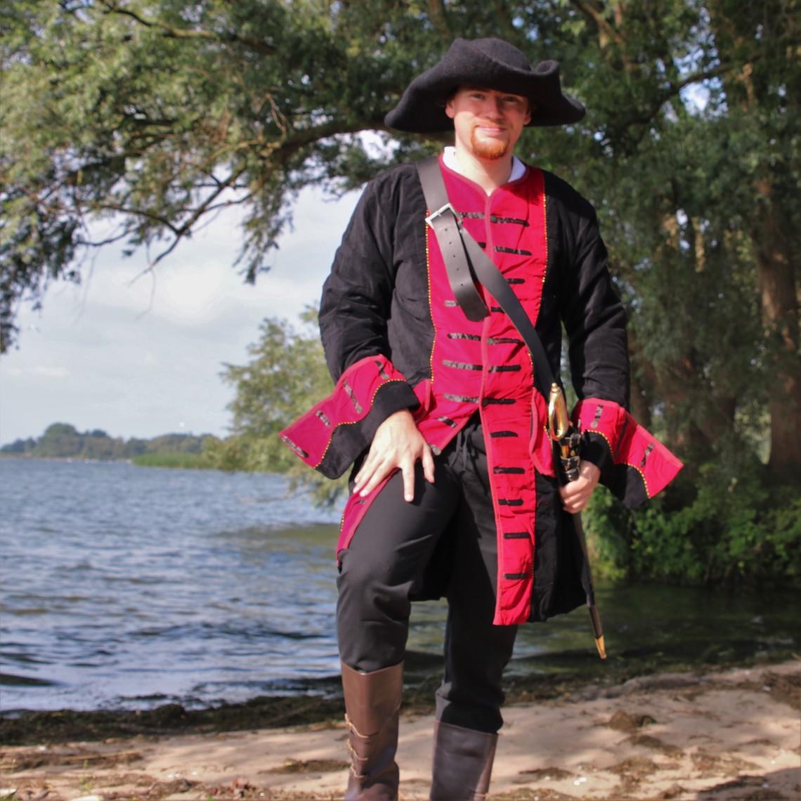 Leonardo Carbone Abrigo pirata terciopelo, negro-rojo