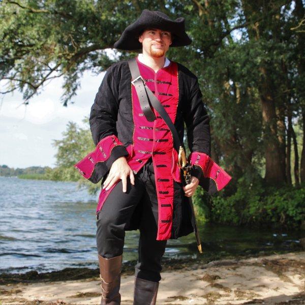 Leonardo Carbone Piratfrakke fløjl, sort-rød
