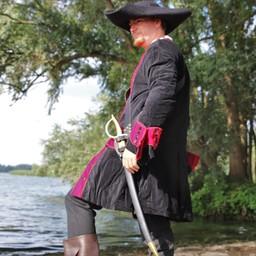 Piratkåpa sammet, svart-röd