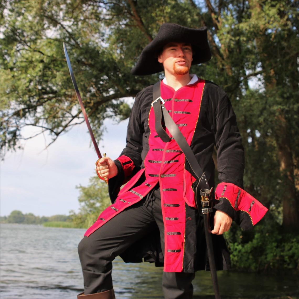 Leonardo Carbone Piratenmantel Samt, schwarz-rot