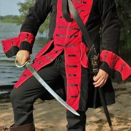 Abrigo pirata terciopelo, negro-rojo