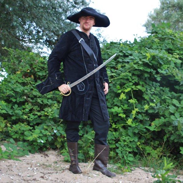 Leonardo Carbone Piratfrakke fløjl, sort