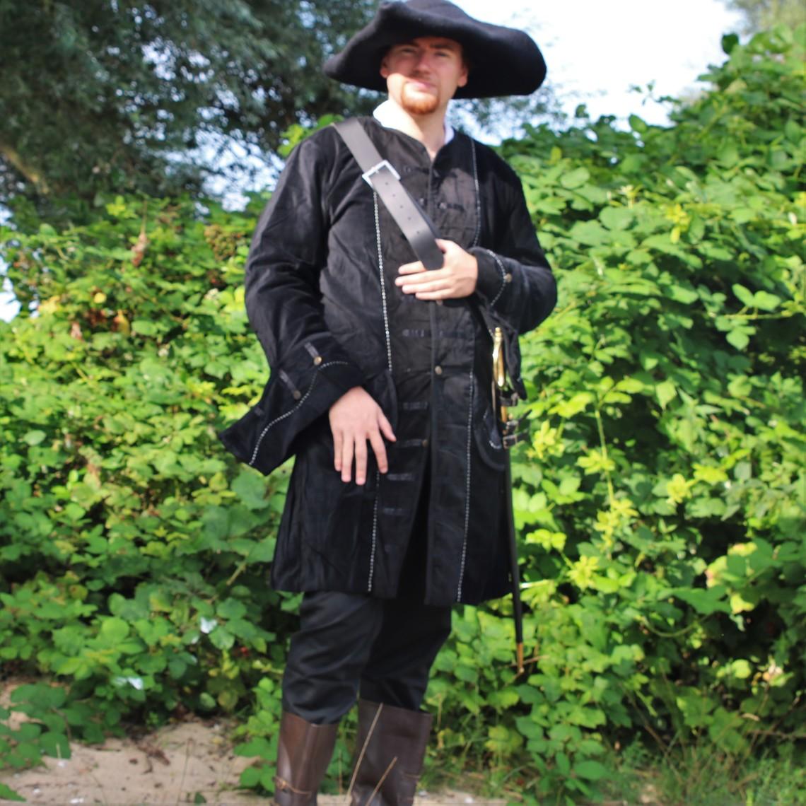 Leonardo Carbone Cappotto pirata in velluto, nero