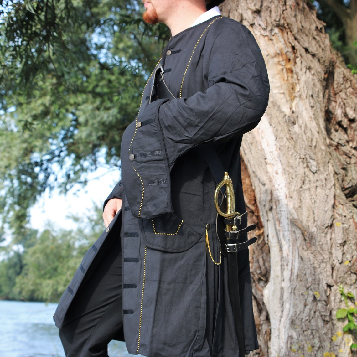 Leonardo Carbone Cappotto Pirata 17 ° secolo, nero