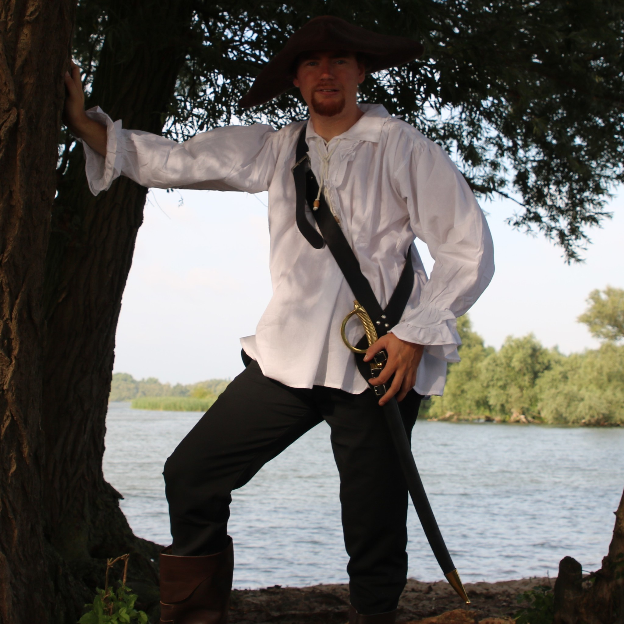 Camicia pirata, bianco