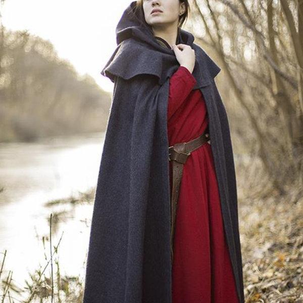 Epic Armoury Middelalderlig hættefrakke Thomas, grå