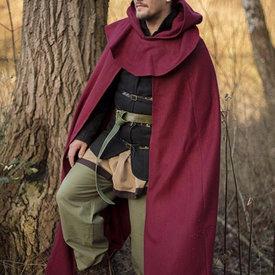 Epic Armoury Capa medieval con capucha Thomas, rojo